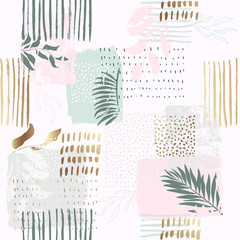 Seamless exotic pattern with tropical plants and gold glitter elements. Vector