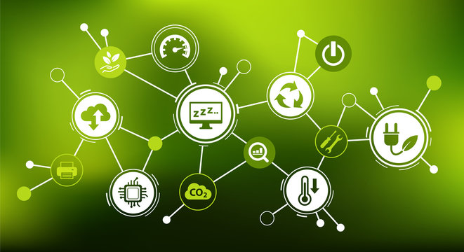 Green computing / green IT connected icon concept: environmentally sustainable ICT, Recycling, cloud computing, systems design – vector illustration