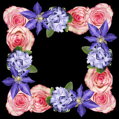 Fototapete - Beautiful floral pattern of roses, clematis and hyacinth. Isolated