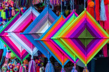 Mandala God Eye Multicolored Mexican Crafts in Sayulita Mexico.