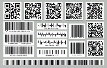 Set of isolated rectangle barcode, square qr code