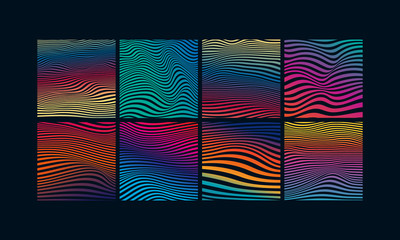 Obraz Set of abstract optical art background. Colorful gradient wave stripes isolated. Vector illustration - fototapety do salonu