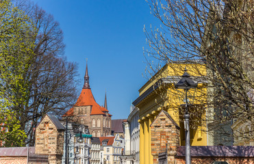 Fototapete - Cityscape of historic buildings in the center of Rostock, Germany