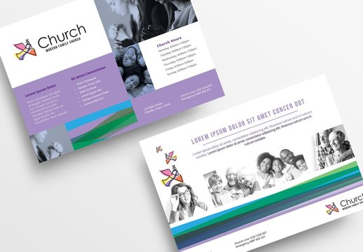 Purple and White Flyer Layout with Bird Illustrations