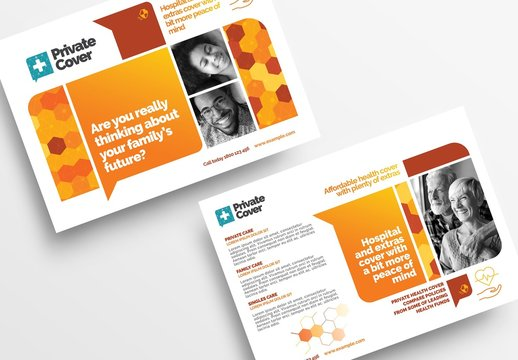 Flyer Layout with Geometric Elements and Medical Icons