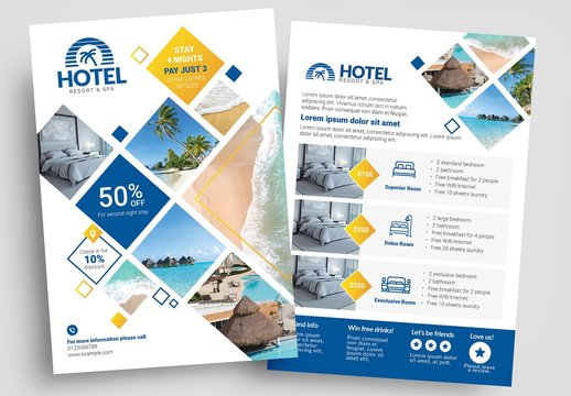 Flyer Layout with Geometric Elements and Hospitality Icons