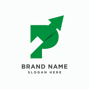 Initial letter P with arrow logo design template vector
