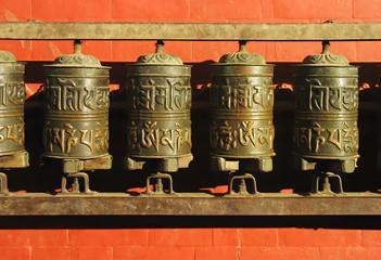 Prayer wheels of a temple, Kathmandu
