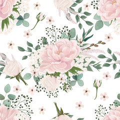 Beautiful colorful  seamless pattern  with  Peony flowers. Vector illustration. EPS 10