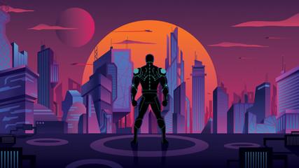 Superhero in Futuristic City 2