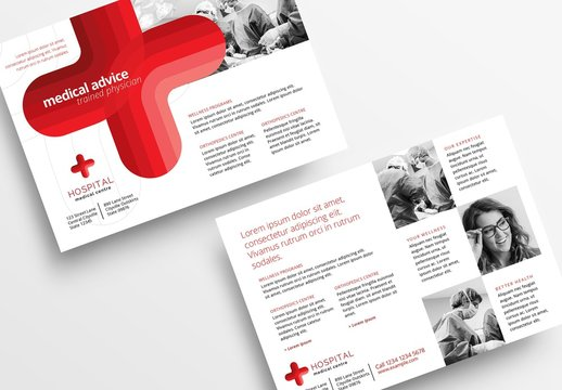 Medical Hospital Flyer Layout with Cross Element