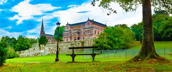 Palace Sobrellano, Comillas, Cantabria, Spain.Scenic historic architecture.Cantabria and Santander tourism landmark.Comillas palace. Spain travel. Fotomurales