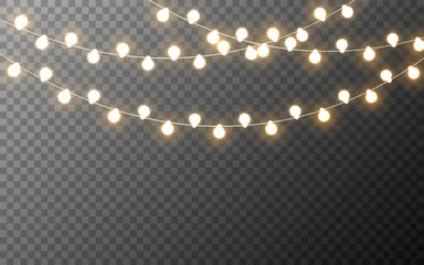 Christmas lights isolated. Glowing yellow garlands. Bright luminous elements. Light bulbs for banner, poster, card or web. Festive template with decorative lamps. Vector illustration