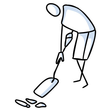 Hand drawn stick figures trash cleaning with spade. Concept of clean up earth day. Simple icon motif for environmental earth day, volunteer clipart, eco rubbish recycling illustration. Vector EPS 10.