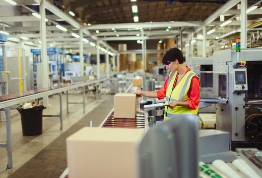 Worker checking cardboard boxes on conveyor belt production line in factory
