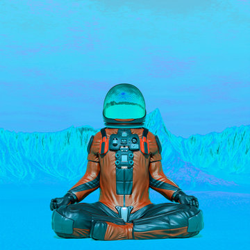 astronaut exploring mars doing yoga pose