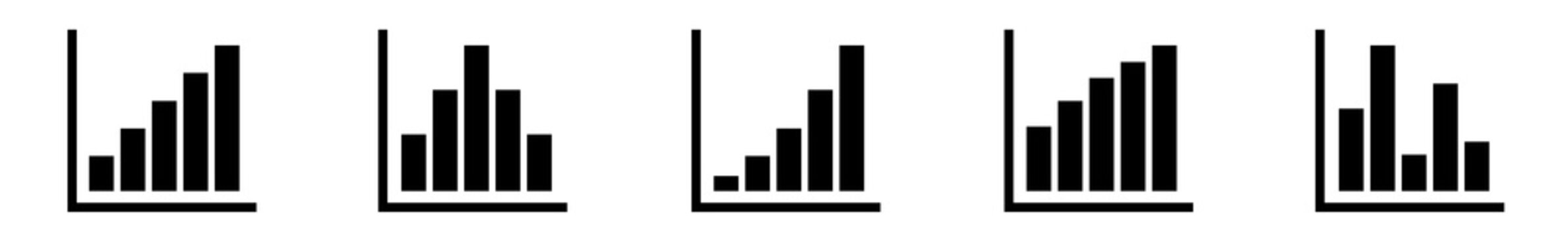 Bar Graph Icon Black | Bar Diagram | Chart Symbol | Curve Logo | Growth Sign | Isolated | Variations