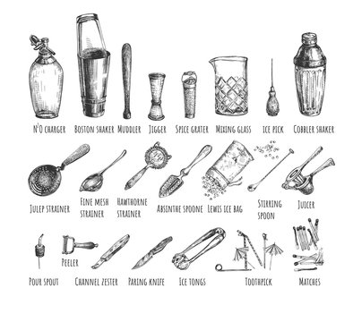 Set bartender equipment and tools