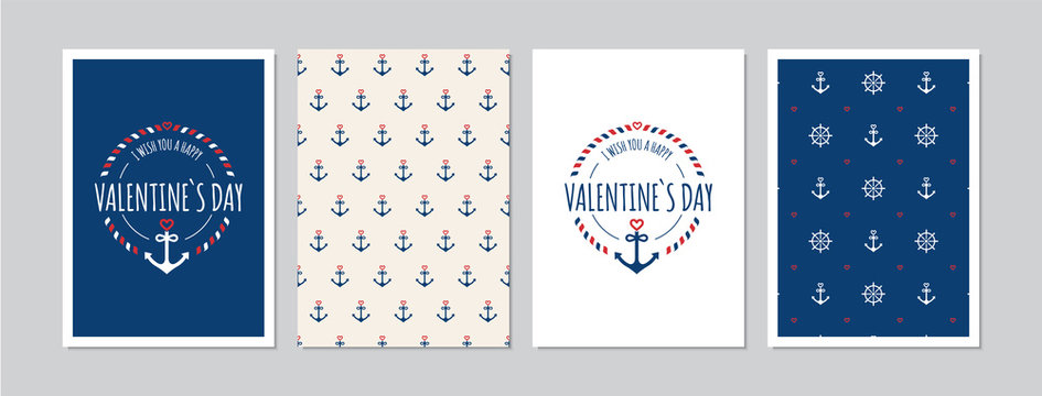 Valentine`s Day cards set with hand drawn elements in maritime look. Doodles and sketches vector vintage illustrations, DIN A6.