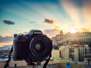 Cagliari, Italy 28/11/2019; Nikon D810 reflex camera on tripod at sunset.