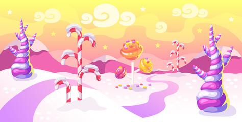 Cartoon fantasy candy land location. Fotomurales