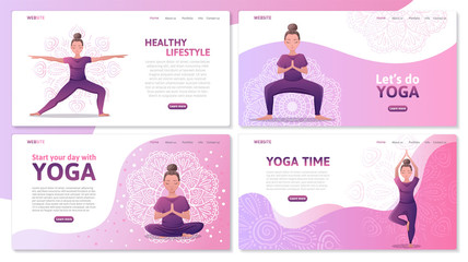 Yoga studio website templates set, web app or webpage vector template. Young women in different yoga poses, meditation and asanas. Yoga center web site for exercises. Vector flat illustration