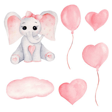Baby elephant and pink balloons hand drawn watercolor illustrations set