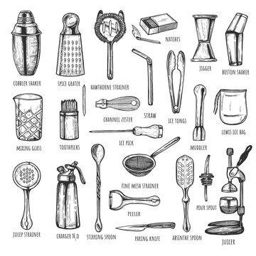 Professional bartender tools set