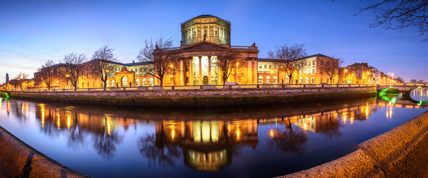 The Four Courts Building In Dublin, Ireland Along The River Liffey.