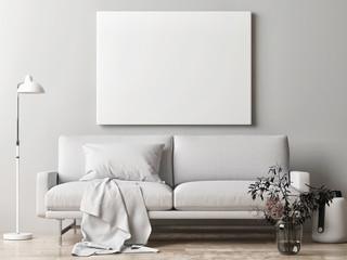 Mock up poster, Scandinavian interior design, 3d render, 3d illustration