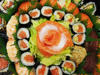 Japanese food sushi and sashimi composition plate top view