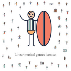 surf musician icon. musical genres icons universal set for web and mobile