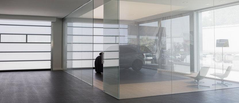 New car in modern car dealership showroom