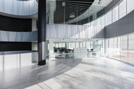 Modern architectural office lobby