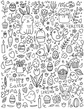 Cute Easter doodle set: bunnies, baskets, easter eggs, cupcakes, cakes, chickens, chicken, crosses, carrots, leaves, flowers, butterflies and candles