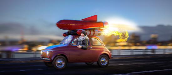 Auf der Überholspur - Rotes Raketenauto mit Frau am Steuer