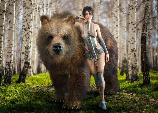 Portrait of a fantasy elegant Druid dark haired female devoted to nature posing with her beloved tamed pet brown bear . 3d rendering