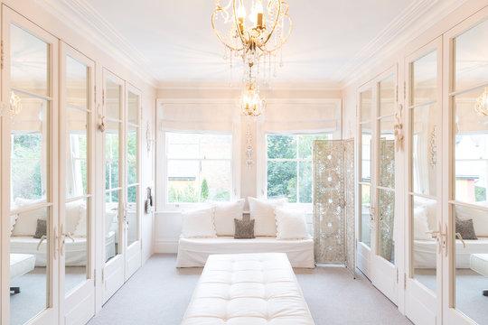 White, luxury home showcase interior dressing room mirrored closets
