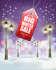Winter Sale Tag with evening winter landscape and lamppost. Vector. Vector