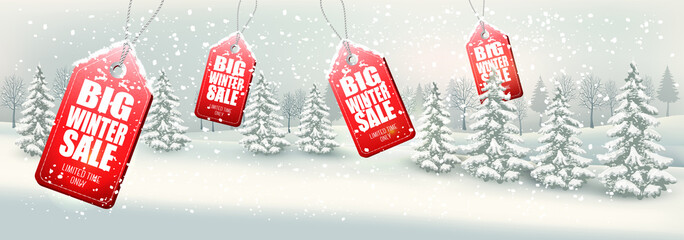 Winter Sale Tags with winter landscape and forest. Vector