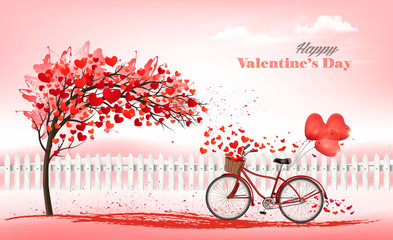A Pink Holiday Valentine's Day background. Tree with heart-shaped leaves and bike with a red ballons. Vector