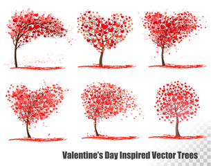 Set of Valentine's Day Inspired  Vector Trees.