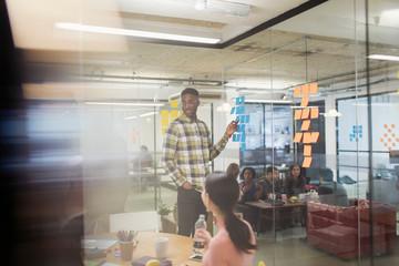 Creative businessman leading brainstorming meeting, using adhesive notes in office Fotobehang