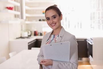 Portrait smiling, confident female real estate agent