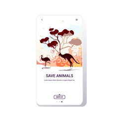 australian animals ostrich kangaroo running from forest fires in australia wildfire bushfire burning trees natural disaster concept intense orange flames smartphone screen mobile app vector