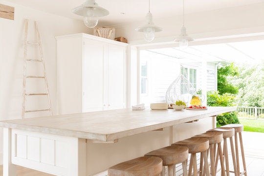 Simple white and wood home showcase kitchen