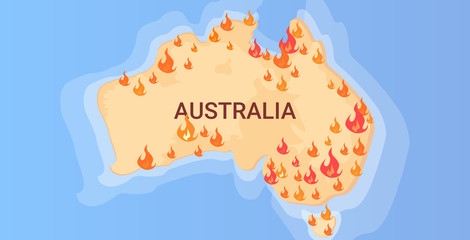 map of Australia with symbols of bushfires seasonal wildfires dry woods burning global warming natural disaster concept flat horizontal vector illustration