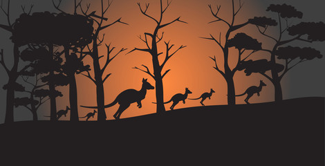 silhouettes of kangaroos running from forest fires in australia animals dying in wildfire bushfire natural disaster concept horizontal vector illustration