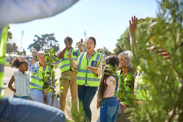 Enthusiastic volunteers cheering, planting trees at sunny park