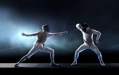 Men fencing